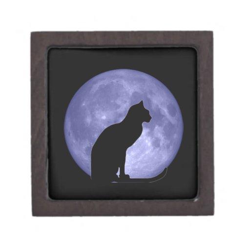 Caja de regalo superior de la luna azul del gato n cajas de joyas de calidad