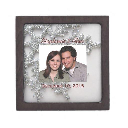 Caja de regalo superior del copo de nieve de plata cajas de regalo de calidad