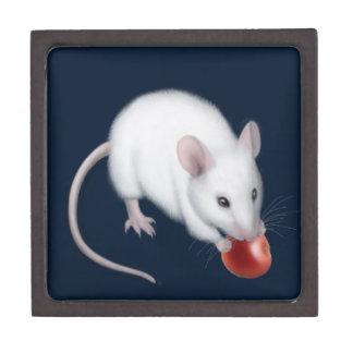 Caja de regalo superior del pequeño ratón blanco caja de recuerdo de calidad