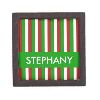 Caja de regalo superior del verde de las rayas del caja de recuerdo de calidad