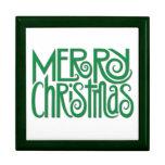 Caja de regalo verde de las Felices Navidad