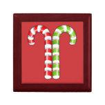 Caja de regalo verde roja de los bastones de caram