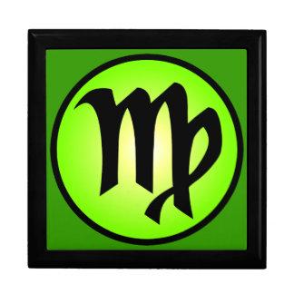 Caja de regalo verde soleada del zodiaco del virgo