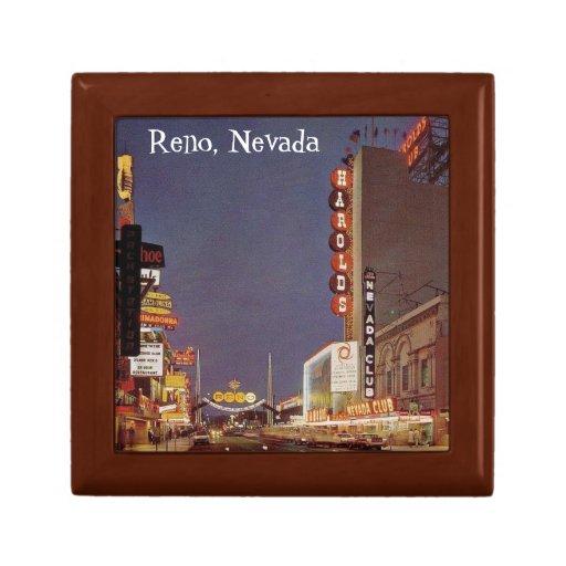 Caja de Reno Nevada del vintage Joyero Cuadrado Pequeño