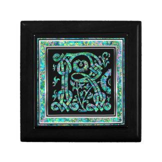Caja decorativa azul de Masselle del monograma de Joyero Cuadrado Pequeño