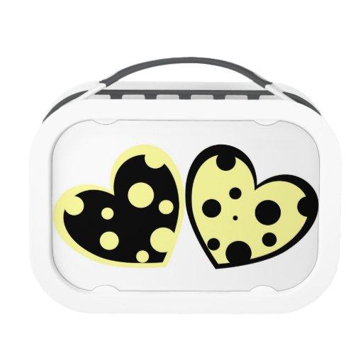 Caja del almuerzo amarillo claro y negra de los co