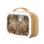 Caja del almuerzo artística de los búhos
