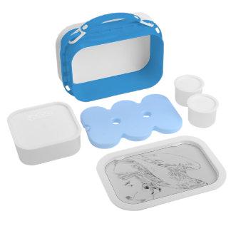 Caja del almuerzo con imagen de la pluma y de la t
