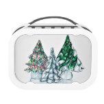 Caja del almuerzo de cristal del bosque