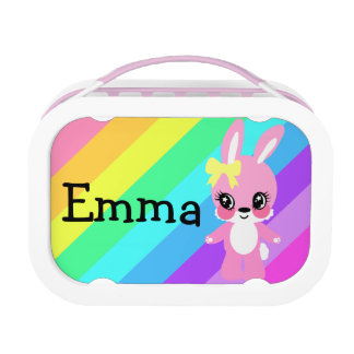 Caja del almuerzo del arco iris del vintage de Emm