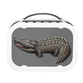 Caja del almuerzo del cocodrilo (gris)