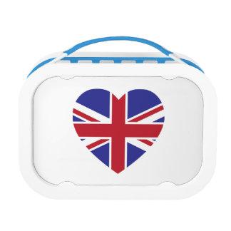 Caja del almuerzo del corazón de Union Jack