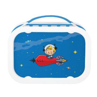 Caja del almuerzo retra del muchacho del espacio