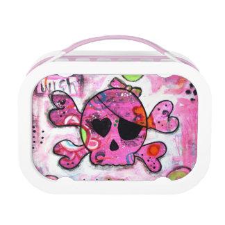 Caja del almuerzo rosada de Skully