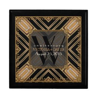 Caja del aniversario de boda del oro del negro del caja de regalo