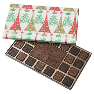 caja del árbol de navidad del dibujo animado de caja de bombones variados con 45 piezas