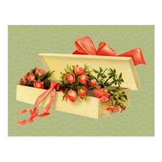 Caja del arte del vintage de postal de los rosas