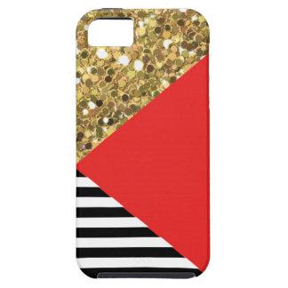 Caja del brillo, del rojo, negra y blanca del oro funda para iPhone SE/5/5s