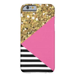 Caja del brillo, del rosa, negra y blanca del oro funda barely there iPhone 6
