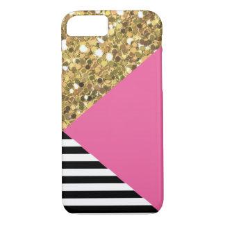 Caja del brillo, del rosa, negra y blanca del oro funda iPhone 7