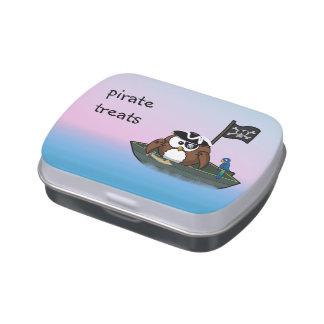 caja del caramelo del búho del pirata jarrones de caramelos