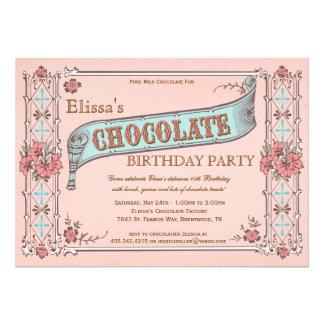 Caja del chocolate del vintage de la invitación de