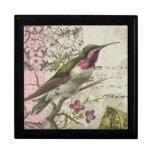 Caja del colibrí del vintage… con la tapa de la te joyero cuadrado grande