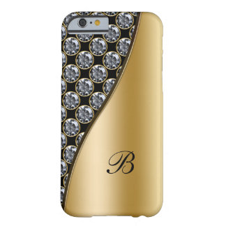 Caja del diamante artificial del monograma funda de iPhone 6 barely there