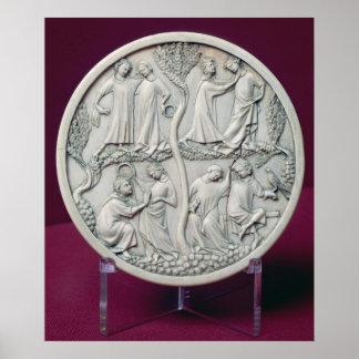 Caja del espejo que representa las escenas cortesa póster