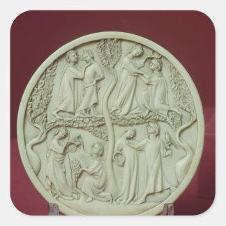 Caja del espejo que representa las escenas pegatina cuadrada