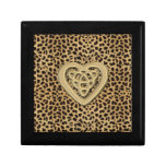 Caja del estampado leopardo con el corazón del caja de regalo cuadrada pequeña