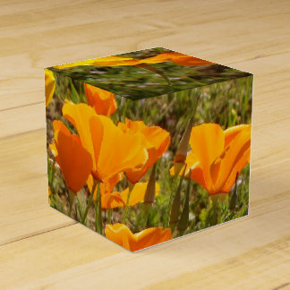 Caja del favor de las amapolas cajas para detalles de boda