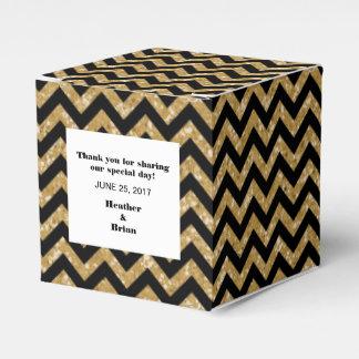 Caja del favor del brillo de Chevron del oro Caja Para Regalos De Fiestas