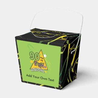 Caja del favor del tema del juerguista de 90 años cajas para regalos de boda