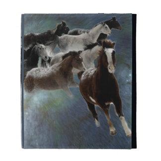 Caja del folio del iPad de los caballos salvajes