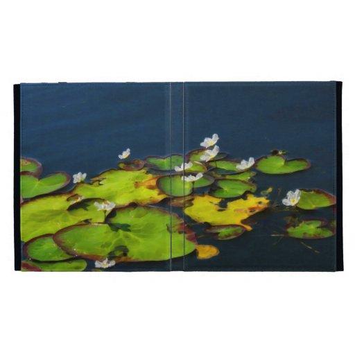 Caja del folio del iPad de los lirios de agua