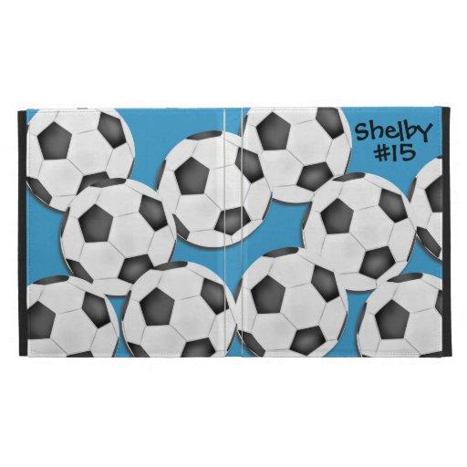 Caja del folio del iPad del balón de fútbol