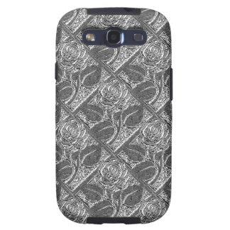 Caja del metal Roses-05-Silver-Galaxy s3 Samsung Galaxy SIII Funda