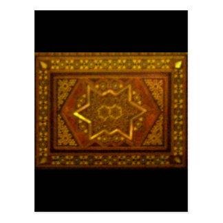 Caja del mosaico en Brown Tarjetas Postales