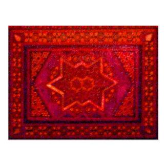 Caja del mosaico en rojo postales