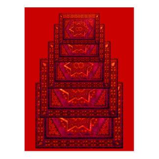 Caja del mosaico en rojo postal
