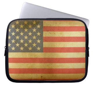 Caja del ordenador portátil de la bandera american fundas portátiles