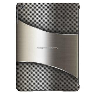caja del oro con la placa y los tornillos funda para iPad air