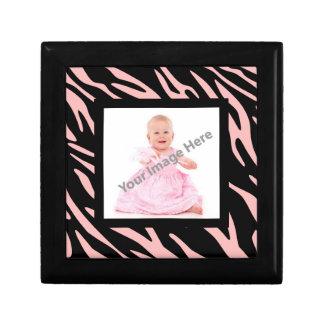Caja del recuerdo de la foto de la raya de la joyero cuadrado pequeño
