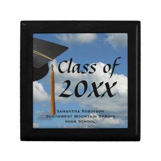Caja del recuerdo de la graduación del cielo azul joyero cuadrado pequeño