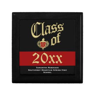 Caja del recuerdo de la graduación, rojo o color d joyero cuadrado pequeño