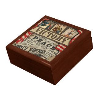 Caja del recuerdo de la paz y de la victoria joyero cuadrado grande