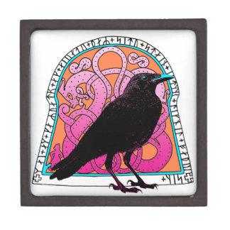 Caja del recuerdo de Runestone del cuervo Cajas De Joyas De Calidad
