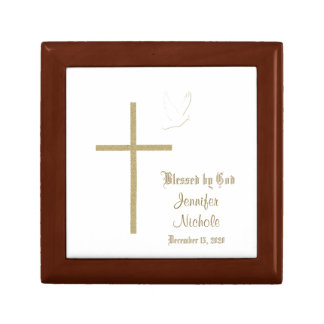 Caja del recuerdo del bautizo o del bautismo joyero cuadrado pequeño