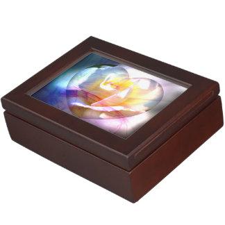 Caja del recuerdo del corazón del rosa blanco caja de recuerdos